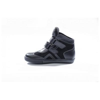 7182-02 ботинки детские (черный, кожа/велюр)