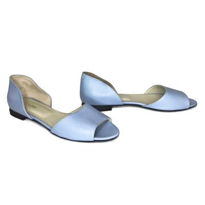 2510 Босоножки женские (голубой, кожа)