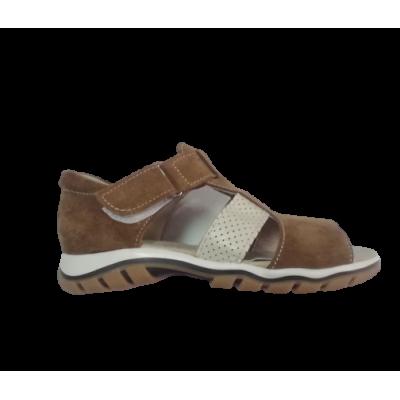 732-02 сандалии детские ( коричневый/беж, кожа перфор)