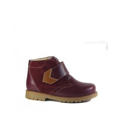 1591-00 ботинки детские орто/профил (бордо, кожа/велюр)