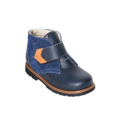 1591-00 ботинки детские орто/профил (синий, кожа/велюр)