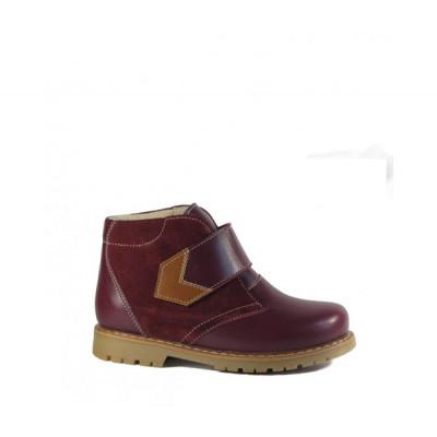 1591-01 ботинки детские орто/профил (бордо, кожа/велюр)