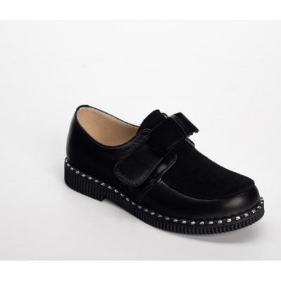 1901-02 туфли детские (черный, кожа/велюр)